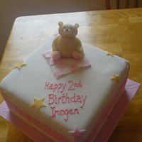 Imogen's 2Nd Birthday Cake   Sponge cake, covered in sugarpaste with marzipan teddy on top. details in royal icing