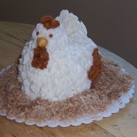 Hen On A Nest  I made this cake for my sister, the idea came from an issue of Martha Stewart Living. Marble cake with buttercream frosting. The nest is...