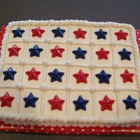 4Th Of July Cake Chocolate cake w/buttercream icing. Red, white and blue chocolate stars on top.