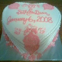 Small Wedding Cake For 2Nd Marriage  Bride picked this out of one of the Wilton wedding Albums. It was 2nd marriage so they wanted small. Used buttercream to frost cake and...