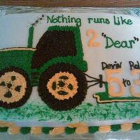 "John Deere Tractor  This was done the ""old-fashion"" cake way of piping stars! I had to do a john deere cake for a father/son and the cutomer doesnt..."