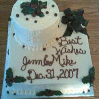 Winter Wedding Shower  Sorry about quality of photo! The bride didn't want alot of flowers so I used holly and berries. She had a deep-burgandy color, which...