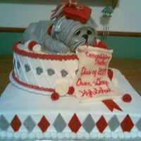 "Bulldogs Graduation  16"" square on bottom, 2 layer 10"" round cake, and a loaf pan plus extra for sculpting the bulldog. I was inspired by melissaRHK&#..."