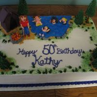 "50Th Birthday Camping Theme  this was 4 11 x 15 sheet cakes, 2 layer stacked. 1/2 chocolate 1/2 white the trees and ""inner tubes"" are made from royal icing..."