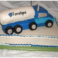 Semi Truck On Sheet Cake Retirement cake, customers father was a truck driver for this company and was retiring