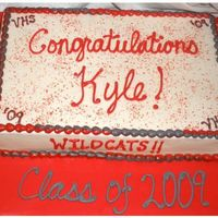 Graduation Sheet Cake Half white half chocolate iced in BC, simple sheet cake