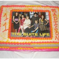 Suite Life Sheet Cake Half white half chocolate iced in BC with laminated image