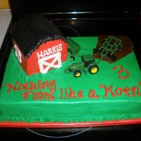 John Deer Cake Half & Half sheet cake white & Choc iced in BC with toy tractor.