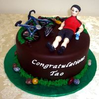 Cycling Cake Congratulatory cake for someone who won some kind of cycling award. I got the bike frame design from a cake I saw here on CC. All gumpaste...