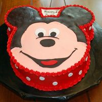 "Mickey Mouse Thanks to jaklotz1 for the great instructions! Chocolate chip cake 5"" ears and 10"" face. Buttercream with fondant ears, eyes,..."