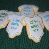 Onesie Cookies Onesie cookies for my newest nephew! Name, date and detailing added with edible markers.