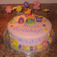 "Pooh ""Girlie"" Winnie the Pooh cake for 2-year old. Covered in MMF; everything is edible except for Pooh (candle) and the springs! The..."