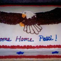 Eagle Welcome Home Cake Made for my aunt who was returning from Iraq. This was a rush job, so I did not have time to sketch out the Eagle beforehand. Just tried to...