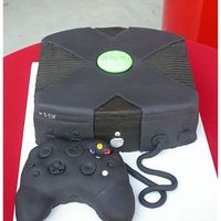 Another Xbox Cake  This groom's cake went with the Cherry Blossom cake. I'm not at all happy with this either, I couldn't get the controller to...