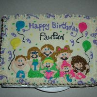 Grandkids I couldn't think of anything to put on my father in laws birthday cake.. the one thing I knew he loves is his grandkids.... white cake...