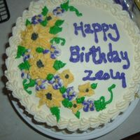 Sunflower Birthday Cake chocolate cake, buttercream icing