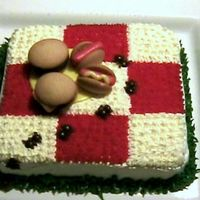 "Picnic Cake With Ants I saw this idea on the internet and thought it was cute. I made this for a 4th of July picnic party we had. The ""plate and hotdogs&..."
