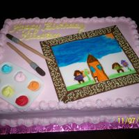 Painting Party This cake was done for my daughters painting party. She painted the picture. All dec. are fondant.