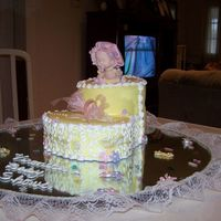 Baby Girl Inside A Bootie The bootie is cake and the baby girl is made out of pastillaje