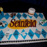 Seinfeld Everything is fondant or gumpaste to represent different seinfeld episodes - We are huge fans. I got the idea from Fancy Cakes by Lauren.