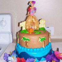 Luau Cake For My 7 & 8 Year Olds Birthdays This was my very first cake made with fondant, made all the fondant from scratch.I looked at a bunch of pictures on here and got ideas....