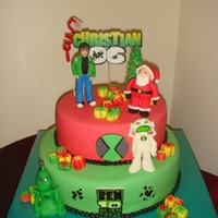 Ben Ten Cake 2 The mom wanted Christmas theme, and the boy wanted Ben Tn, so we managed to mix both themes.