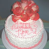 Cake For My Mom With Fresh Roses