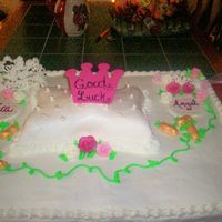 Miss/little Miss Pageant Cake This is a full sheet cake for good luck for a Miss/Little Miss Pageant. The two tiaras are royal icing and so are the roses. The peanuts...