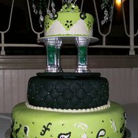 Black And Green 3-tier fondant covered cake inspired by Nicolas Lodge(the bottom tier anyway) for a friends birthday/fashion show