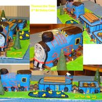 Thomas Train Cake  thanks to all the great thomas cakes on here that i got inspiration from!! Wilton Choo Choo train pan, loaf pans for cars. Royal Icing on...