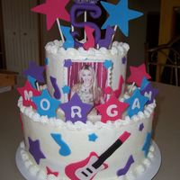 Hannah Montana Cake Iced in BC with fondant accents.TFL