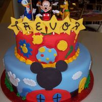 Mickey Mouse Clubhouse Cake Covered in fondant with fondant accents. The top tier matched the party napkins. Thanks to other CC members for inspiration. I had a blast...