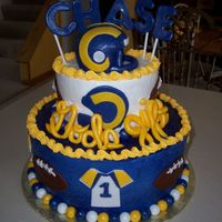 St. Louis Rams Shower Cake This was done for a couple expecting their first baby boy. The dad is a huge Rams fan but likes their old colors better than their new ones...