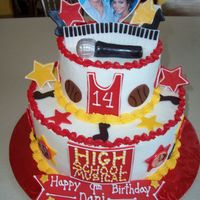 High School Musical Cake Iced in buttercream with fondant accents. The picture was attached to fondant with royal icing.TFL