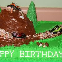 4-Wheeler Birthday Cake Sheet cake is chocolate with buttercream icing. The hill is WASC cake with chocolate syrup frosting. The road is paved with chocolate rocks...