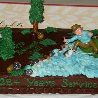 Fishing Retirement Cake This is a WASC cake with chocolate icing. Very much inspired by a cake done by tabs8774, thanks so much.
