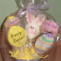 Easter Cookie Bouquet Final cookie bouquet sample. Easter cookies in a cute tin from Michael's. Thanks again to all the fantastic cookie decorators who...