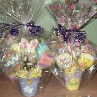 Easter Cookie Bouquet Two of the 10 cookie bouquets I did this week. This is not a great photo, but they had 5 cookies, candy suckers and homemade molded...