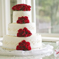 Red Rose Wedding 14, 10, 6 inch round cake, thin silver ribbon, diamond confetti, red roses