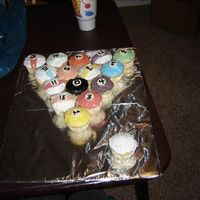 Cc Billards Pool rack out of cupcakes.
