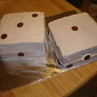 Dice Triple Chocolate Threat Cake with BC frosting and candy melts for the dots
