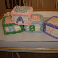 Baby Blocks I hated doing this Cake!!!!Each block was a different flavor; spice, white, red velvet, and triple chocolateI'm not doing this one...