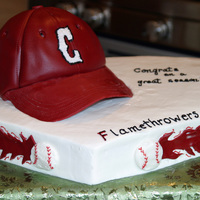 Little League Picnic Cake For my sons end of season team picnic today; sheet cake was frosted, hat cake was covered in fondant. The bill of the hat was fondant that...