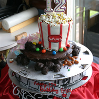 Erica's Popcorn Cake! For my daughters 12th Birthday, she was having a movie theme. I made the bottom cake (white with raspberries) to look like a movie reel,...