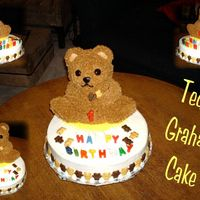 Teddy Graham Cake Cake for Nephews first birthday. Bear is made with Chocolate Fudge cake and iced with Milk Chocolate Buttercream, placed an ice cream cone...