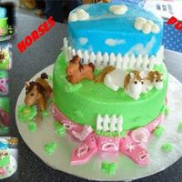 Horse & Ponies Cake This is a Chocolate Nutella cake and a Hazelnut Cake with a Raspbery filling and a Nutella filling covered with Buttercream Icing with a...
