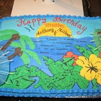 Hawaiian Birthday Cake did this cake for 3 siblings. All in one cake