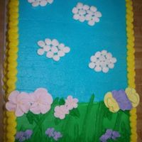 It's Spring Grass and main background is in buttercream. Flowers were royal icing. Clouds are marshmallows that I cut in half. Just a spur of the...