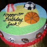 Sports Birthday Cake This is a first cake that I made for my friend's son who loves sports...