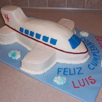 "Airplane Cake   Made from scratch using an 11X15"" Wilton sheetcake pan."
